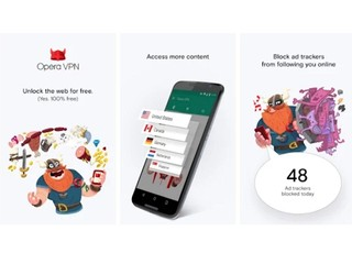 免費 VPN、WiFi安全測試及廣告攔截  Opera Free VPN 登陸 Android 系統