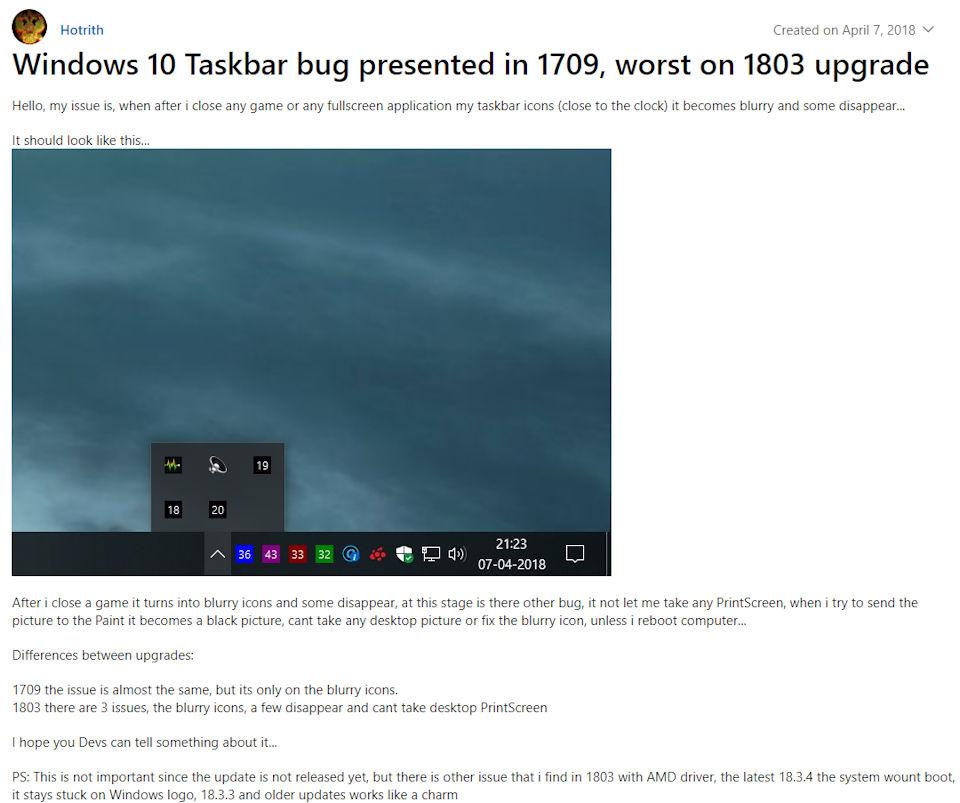 Taskbar Bug