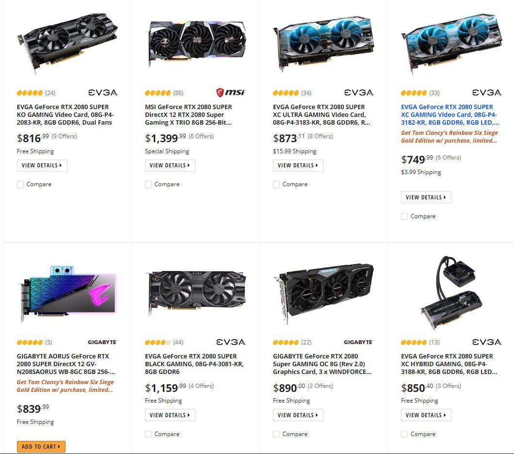 RTX 20 Prices are up