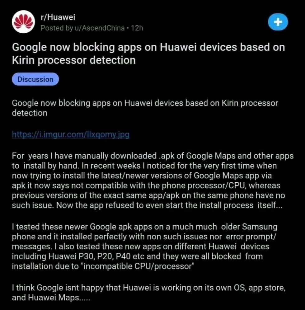 Google blocking apps on Huawei