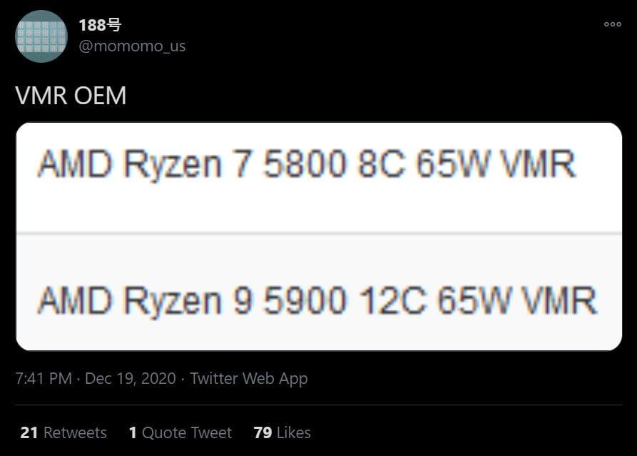 Ryzen 9 5900 Ryzen 7 5800