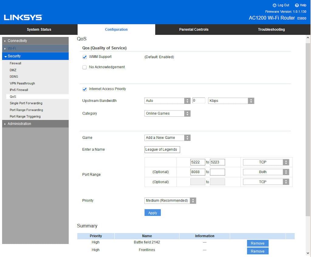 LINKSYS E5600 設定介面及速度測試