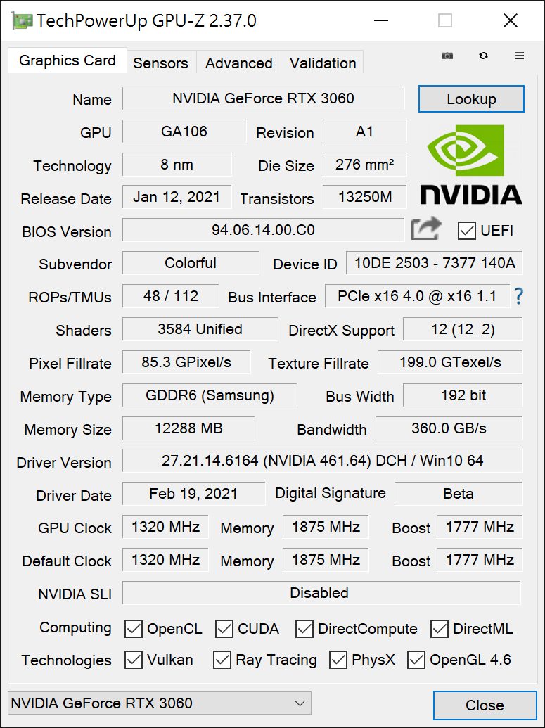 iGame RTX 3060 Advanced  12G