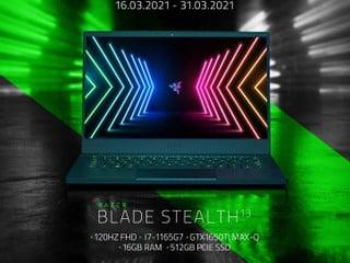 🐍 Razer Blade Stealth「減八舊」 三月優惠 11 代 i7 + 1650Ti Max-Q  限時優惠僅 HK$14,699