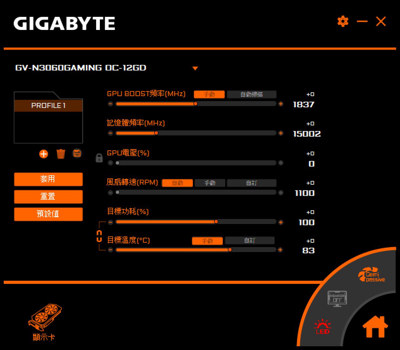 GIGABYTE RTX 3060 GAMING OC 效能測試