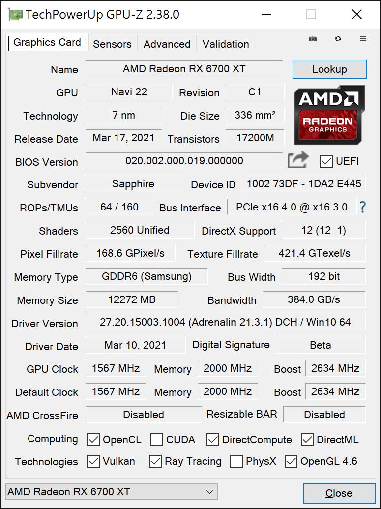 SAPPHIRE NITRO+ RX 6700 XT GPU-Z