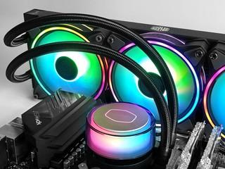 半透雙腔冷頭 + Halo 燈效 CM MasterLiquid ML360 Illusion 一體式水冷